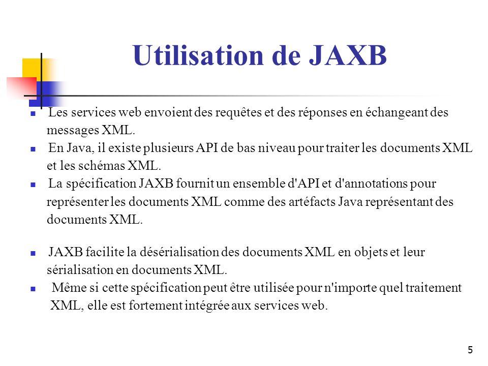 Utilisation de JAXB Les services web envoient des requêtes et des réponses en échangeant des. messages XML.