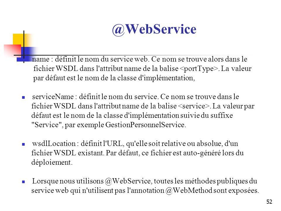@WebService name : définit le nom du service web. Ce nom se trouve alors dans le.