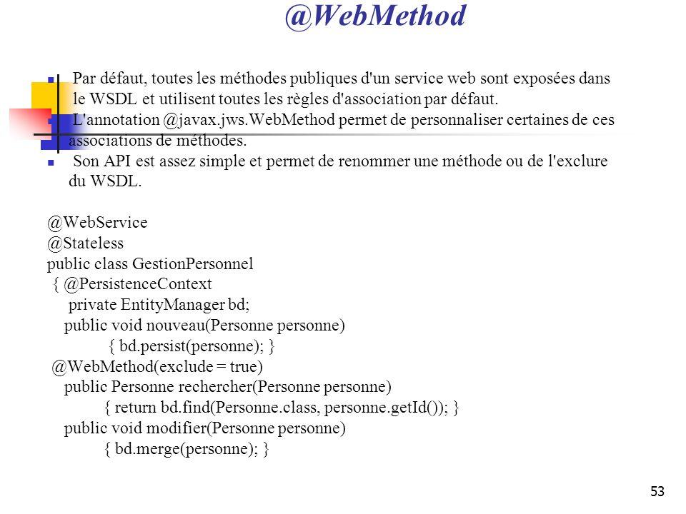 @WebMethod Par défaut, toutes les méthodes publiques d un service web sont exposées dans.
