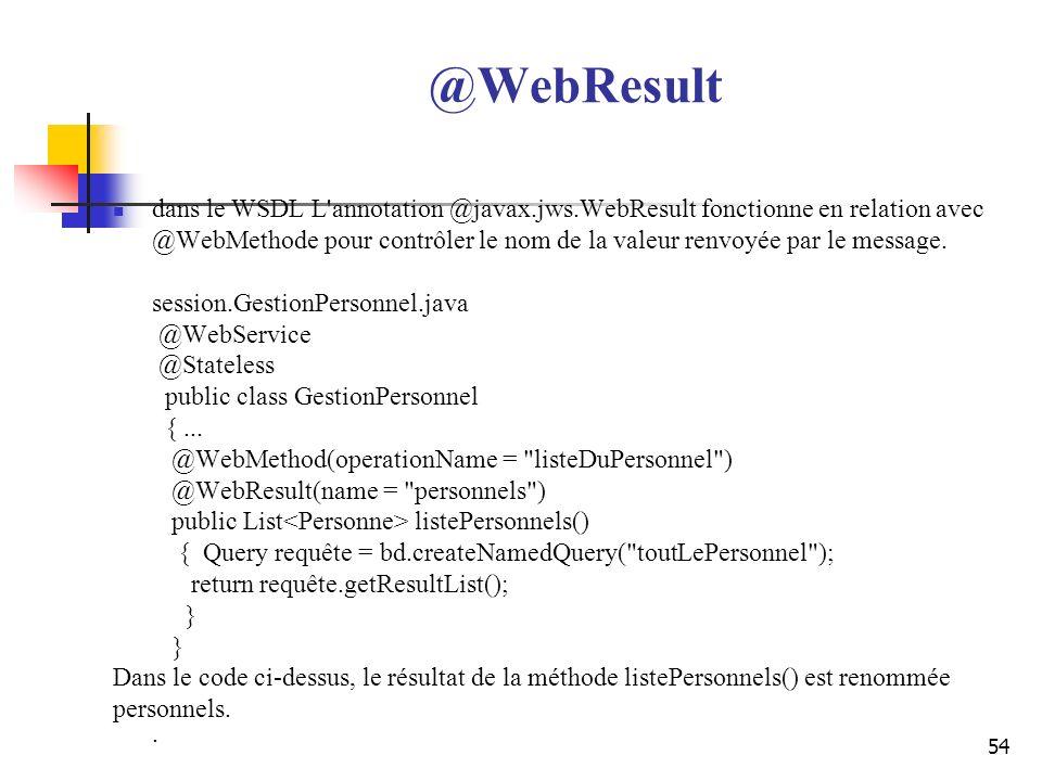 @WebResult dans le WSDL L annotation @javax.jws.WebResult fonctionne en relation avec.