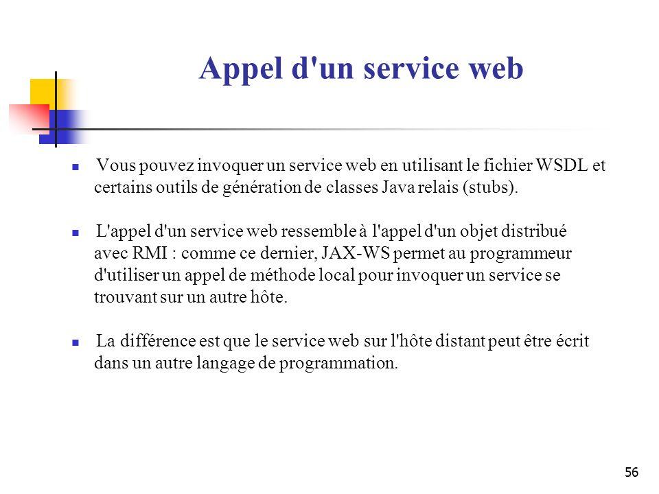 Appel d un service web Vous pouvez invoquer un service web en utilisant le fichier WSDL et.
