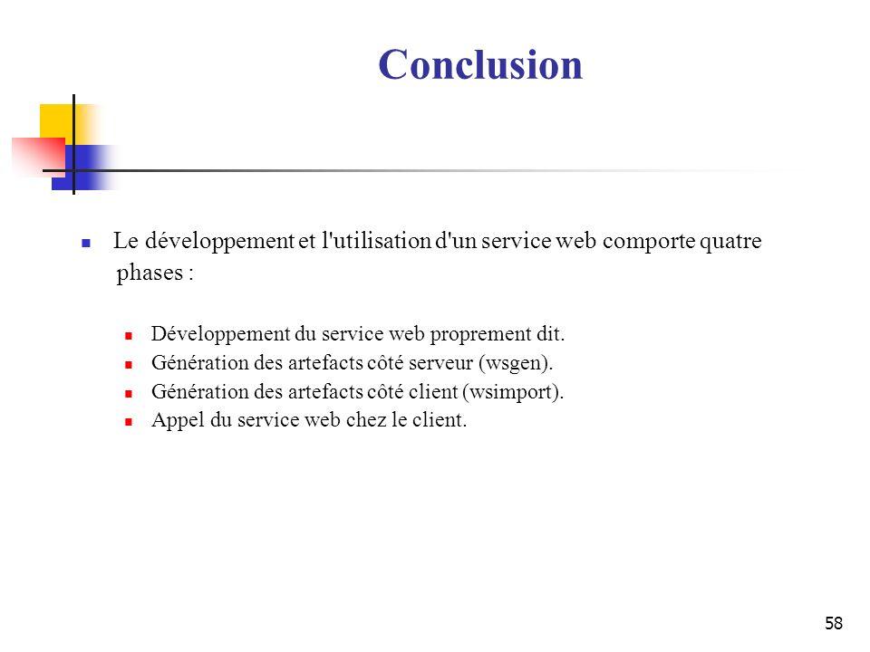 Conclusion Le développement et l utilisation d un service web comporte quatre. phases : Développement du service web proprement dit.