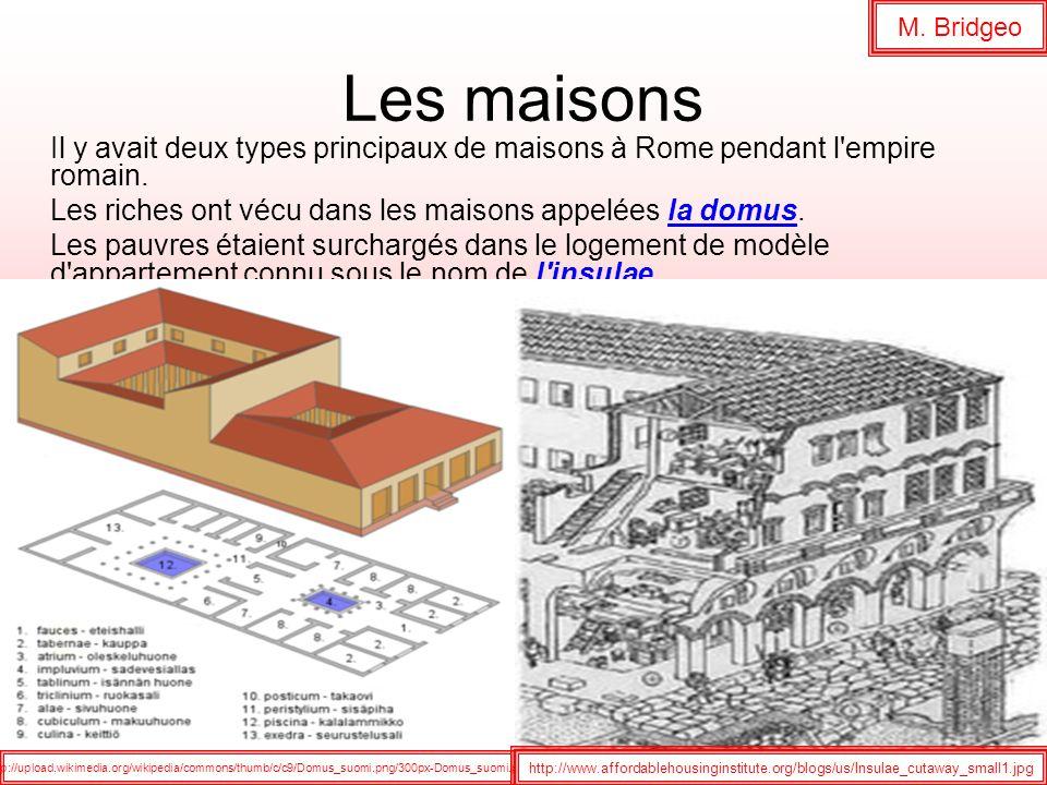 M. Bridgeo Les maisons. Il y avait deux types principaux de maisons à Rome pendant l empire romain.