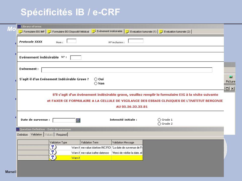 Spécificités IB / e-CRF