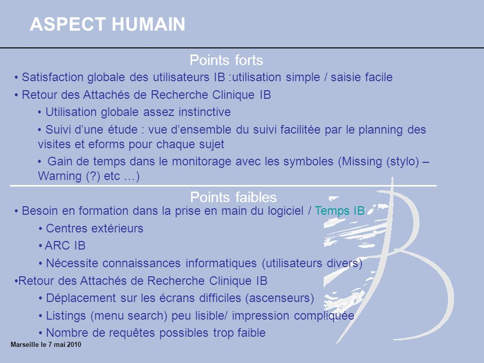 ASPECT HUMAIN Points forts Points faibles