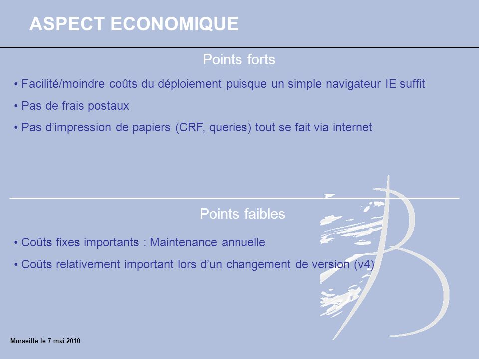 ASPECT ECONOMIQUE Points forts Points faibles