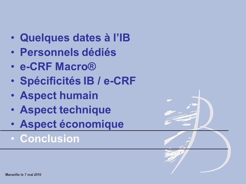 Spécificités IB / e-CRF Aspect humain Aspect technique