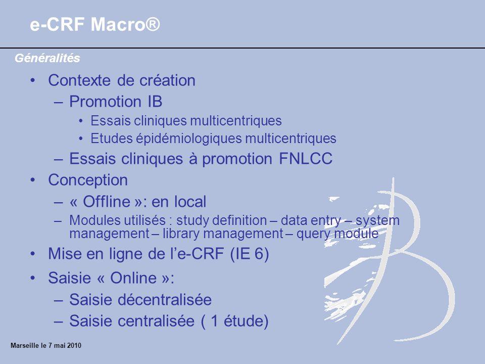 e-CRF Macro® Contexte de création Promotion IB