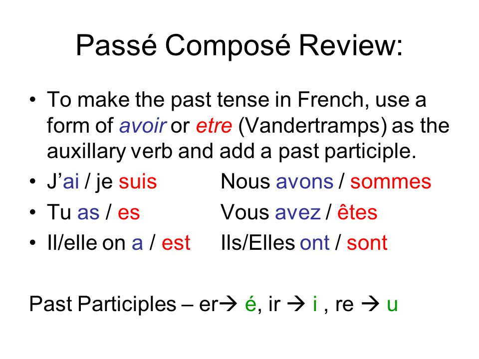 Passé Composé Review: To make the past tense in French, use a form of avoir or etre (Vandertramps) as the auxillary verb and add a past participle.