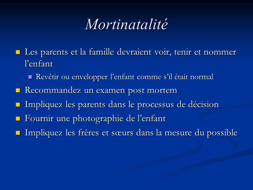 Mortinatalité Les parents et la famille devraient voir, tenir et nommer l'enfant. Revêtir ou envelopper l'enfant comme s'il était normal.