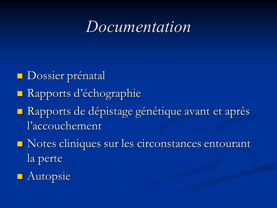 Documentation Dossier prénatal Rapports d'échographie