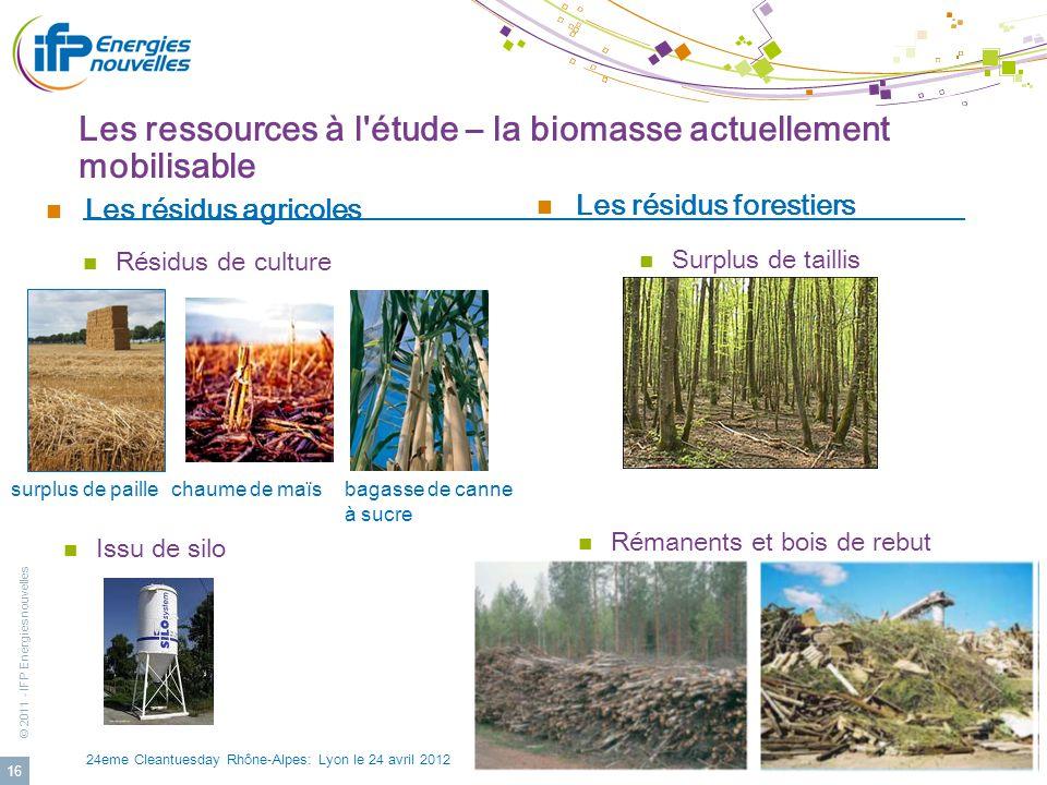 Les ressources à l étude – la biomasse actuellement mobilisable