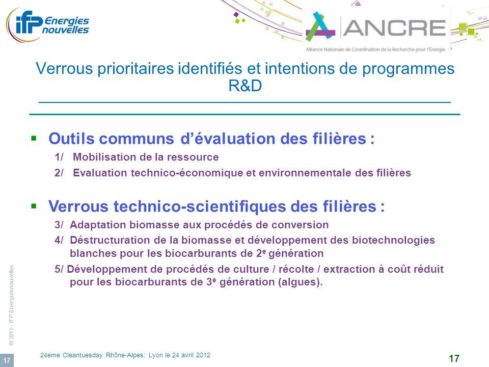 Verrous prioritaires identifiés et intentions de programmes R&D