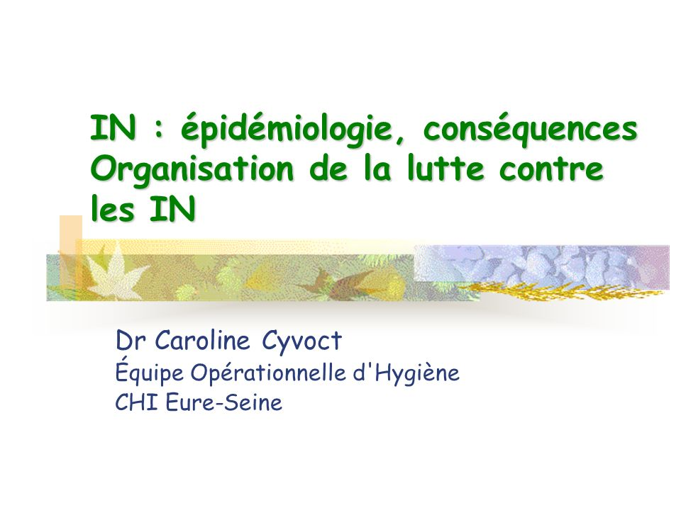 Dr Caroline Cyvoct Équipe Opérationnelle d Hygiène CHI Eure-Seine