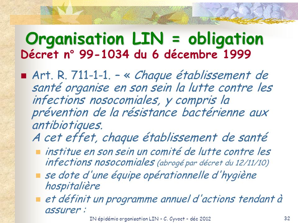 Organisation LIN = obligation