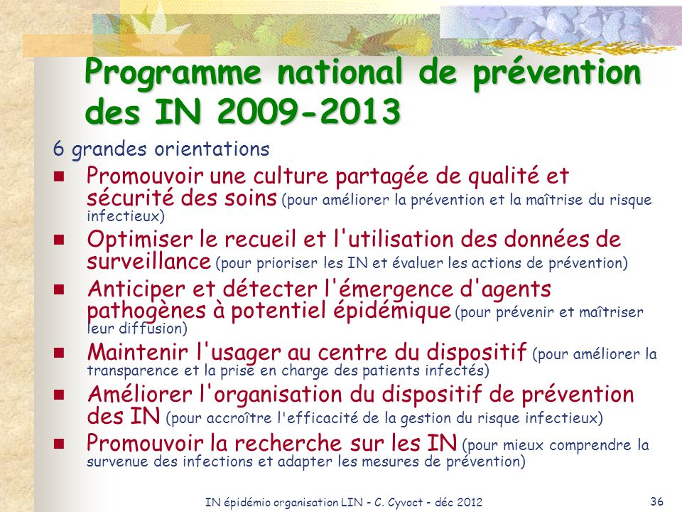 Programme national de prévention des IN 2009-2013