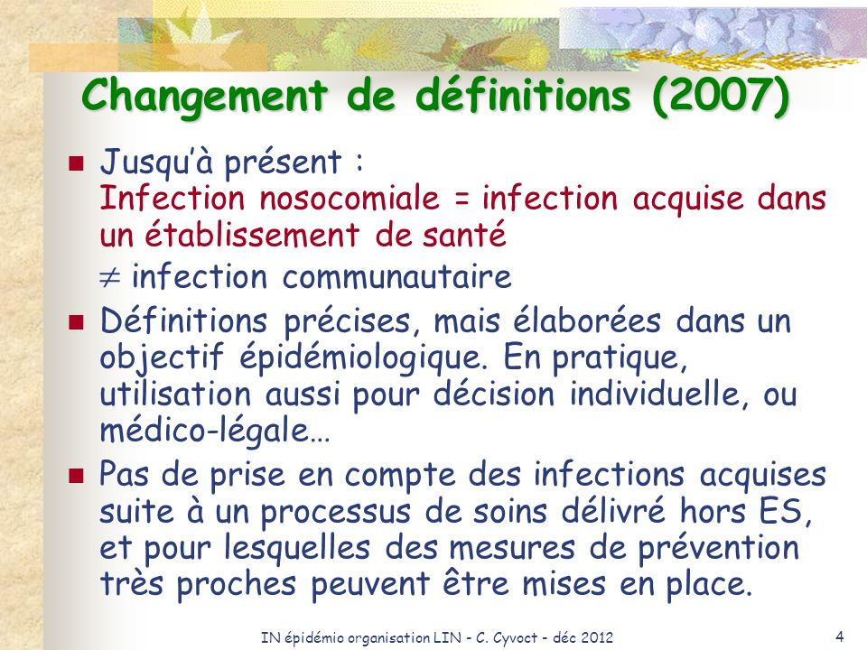 Changement de définitions (2007)