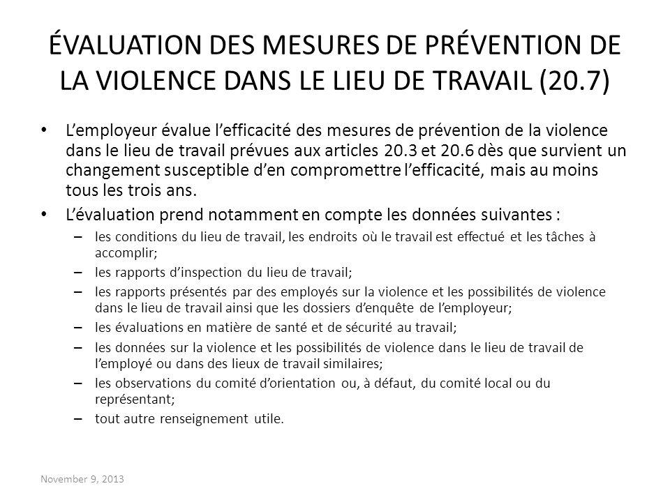 ÉVALUATION DES MESURES DE PRÉVENTION DE LA VIOLENCE DANS LE LIEU DE TRAVAIL (20.7)