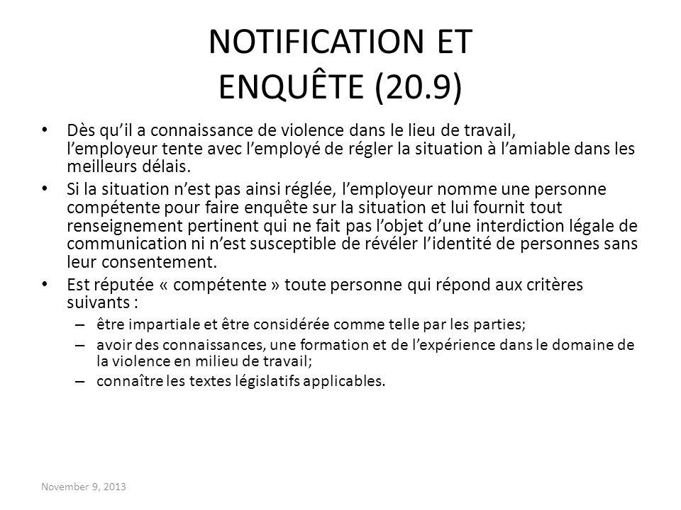 NOTIFICATION ET ENQUÊTE (20.9)