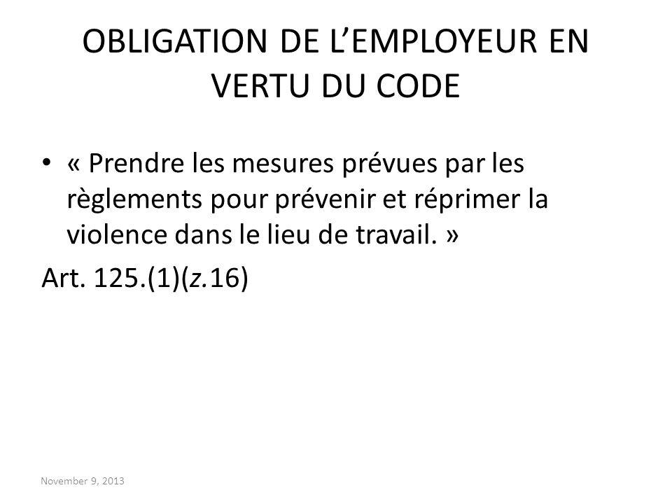 OBLIGATION DE L'EMPLOYEUR EN VERTU DU CODE
