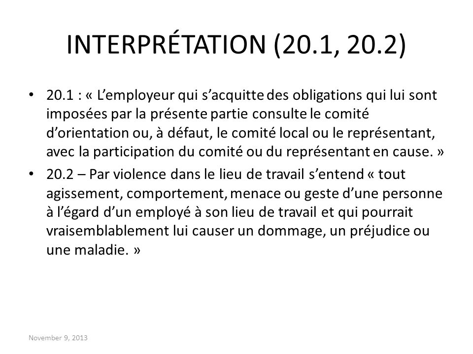INTERPRÉTATION (20.1, 20.2)