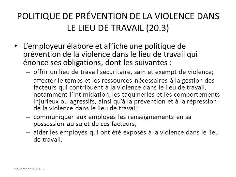 POLITIQUE DE PRÉVENTION DE LA VIOLENCE DANS LE LIEU DE TRAVAIL (20.3)