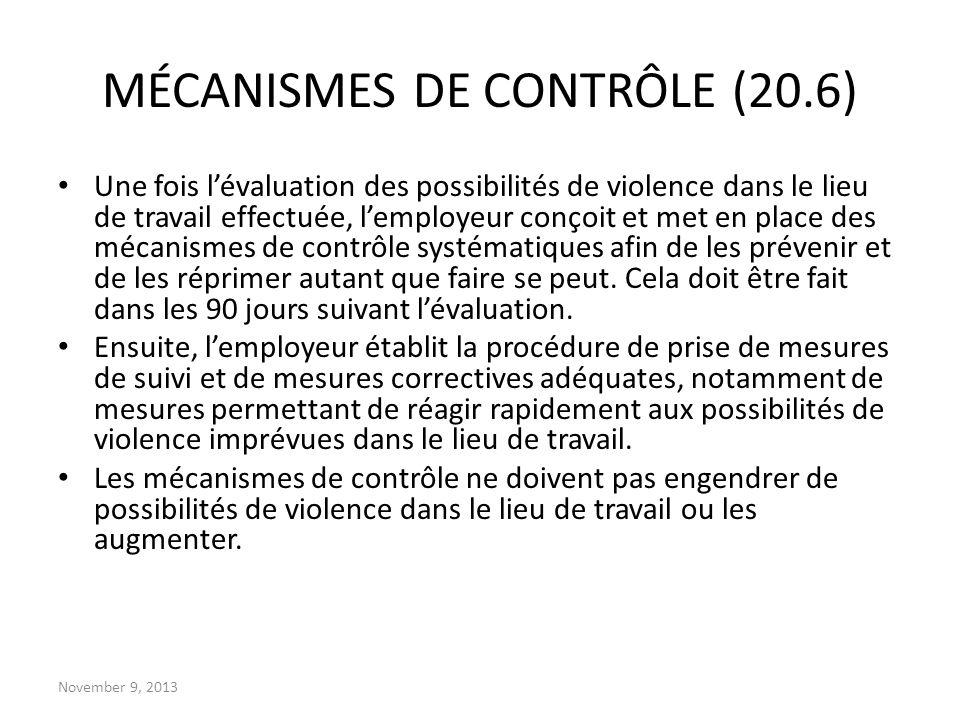 MÉCANISMES DE CONTRÔLE (20.6)