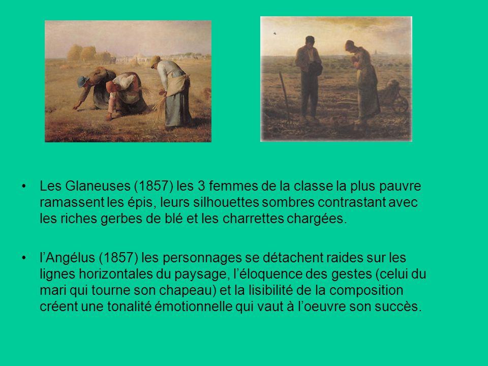 Les Glaneuses (1857) les 3 femmes de la classe la plus pauvre ramassent les épis, leurs silhouettes sombres contrastant avec les riches gerbes de blé et les charrettes chargées.