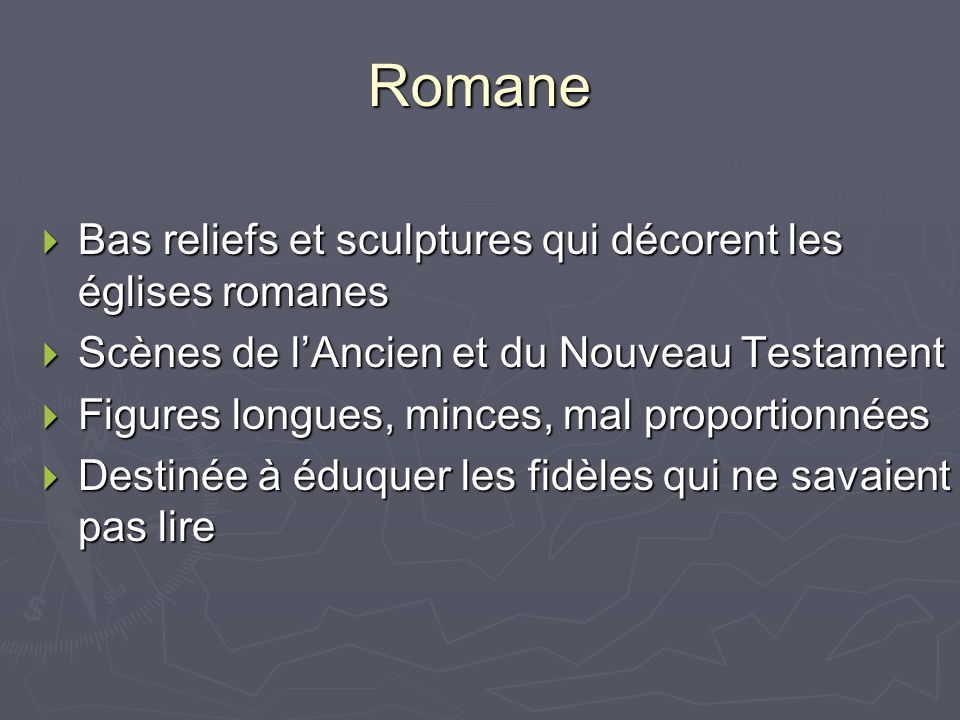 Romane Bas reliefs et sculptures qui décorent les églises romanes