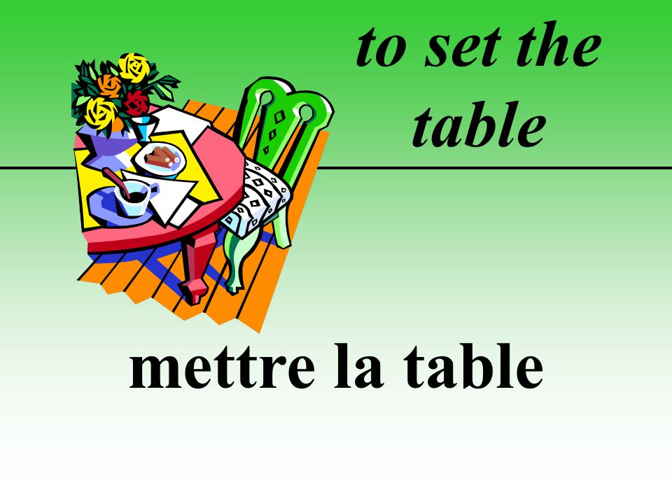 to set the table mettre la table