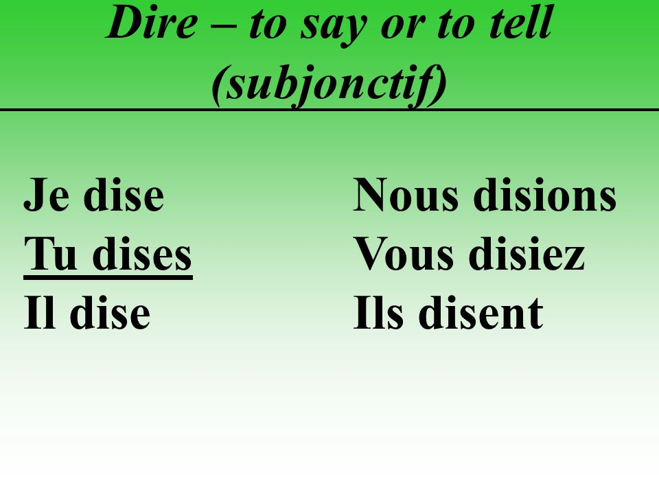 Dire – to say or to tell (subjonctif)