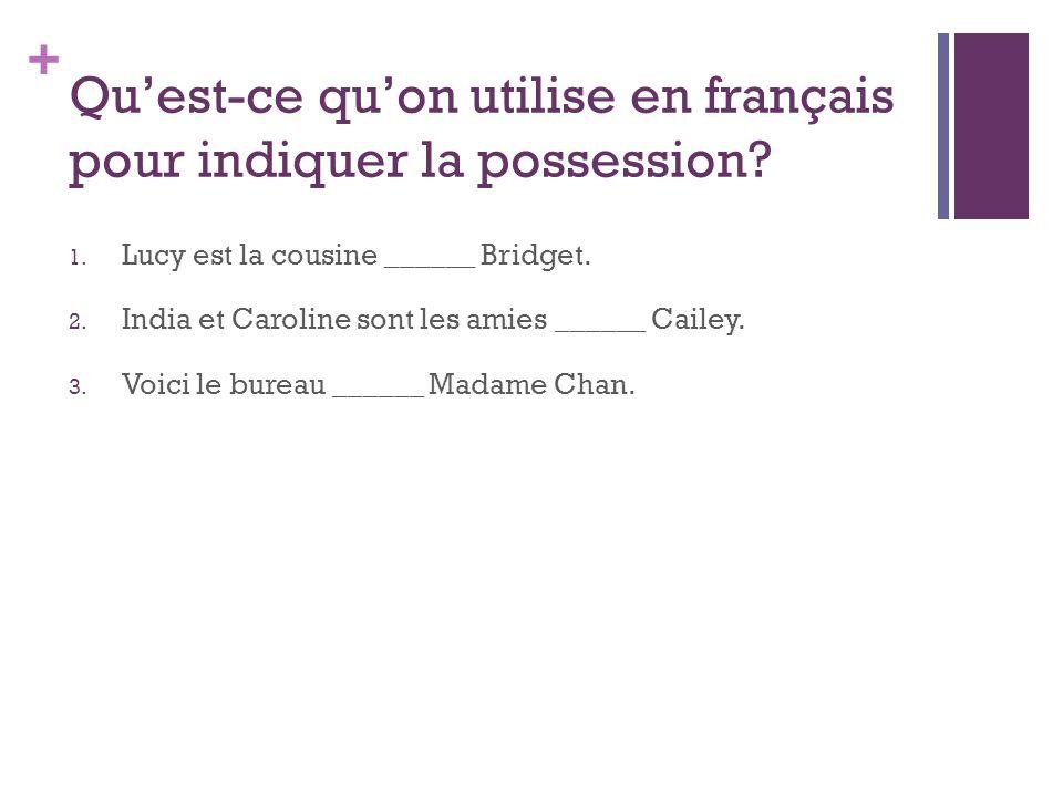 Qu'est-ce qu'on utilise en français pour indiquer la possession