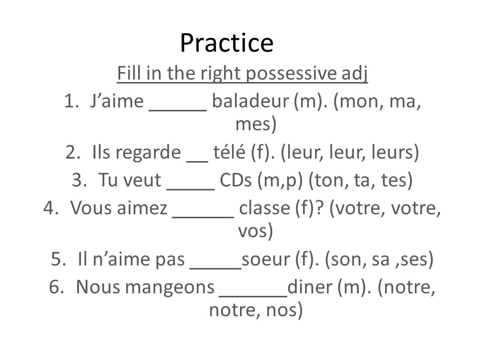 Practice Fill in the right possessive adj