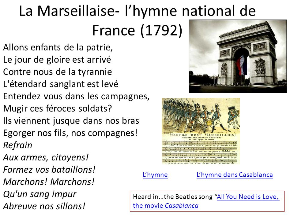 La Marseillaise- l'hymne national de France (1792)