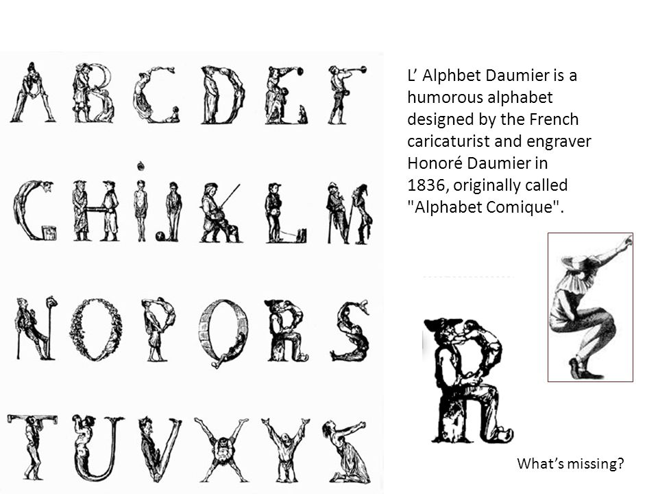 L' Alphbet Daumier is a humorous alphabet designed by the French caricaturist and engraver Honoré Daumier in.
