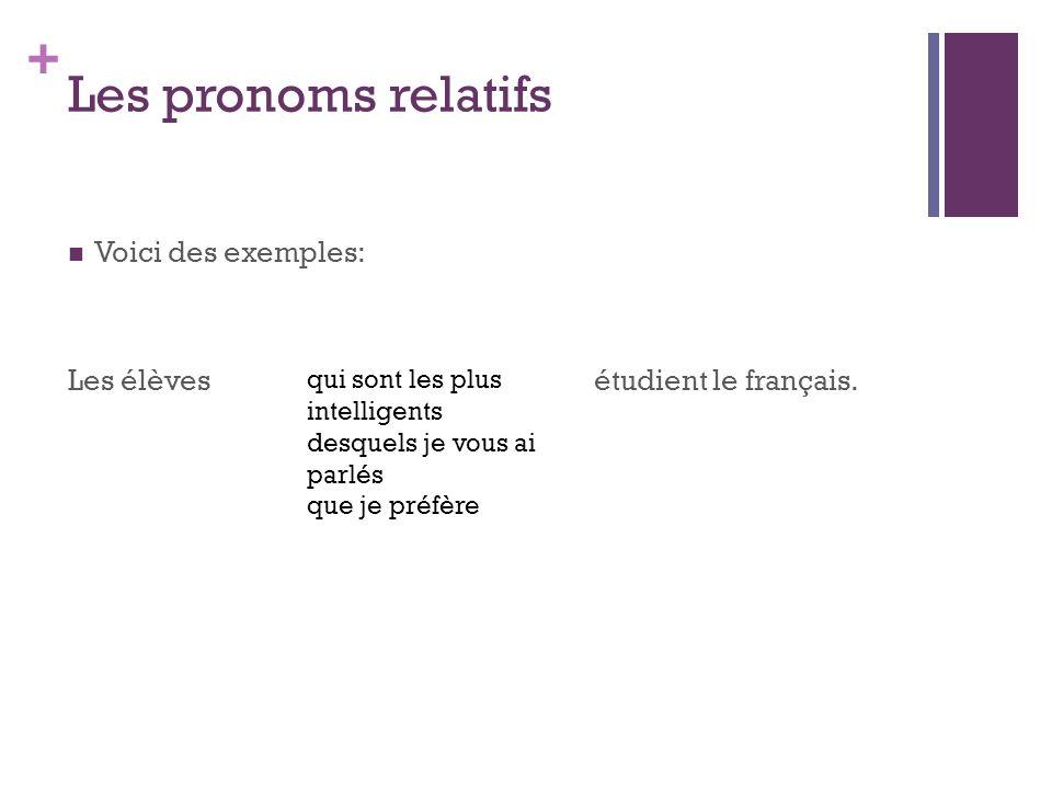 Les pronoms relatifs Voici des exemples: