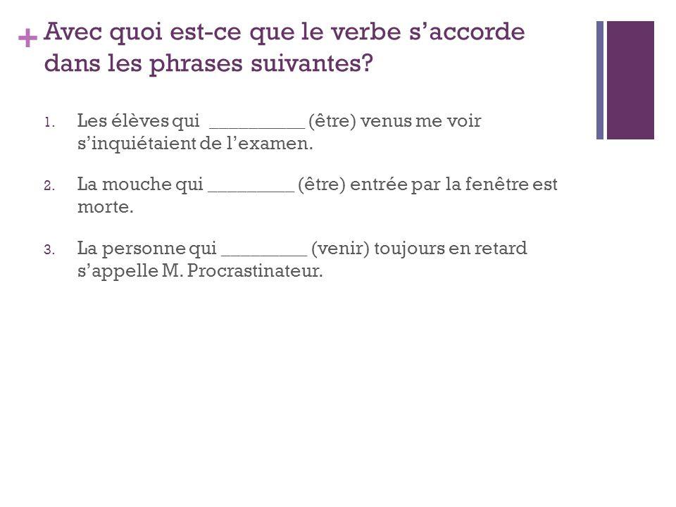 Avec quoi est-ce que le verbe s'accorde dans les phrases suivantes