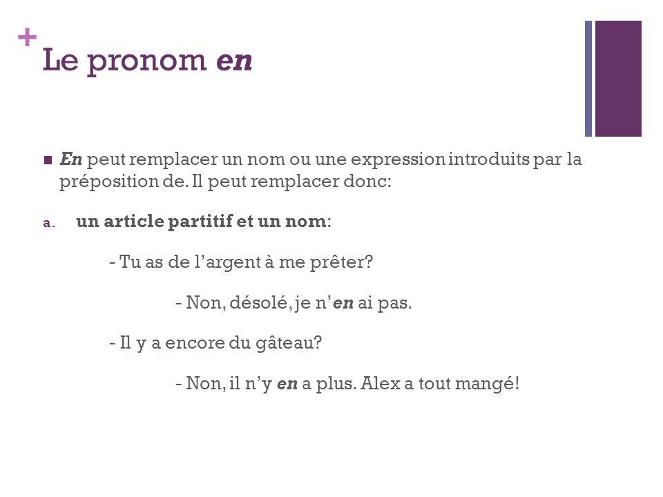 Le pronom en En peut remplacer un nom ou une expression introduits par la préposition de. Il peut remplacer donc: