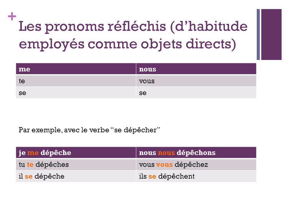 Les pronoms réfléchis (d'habitude employés comme objets directs)