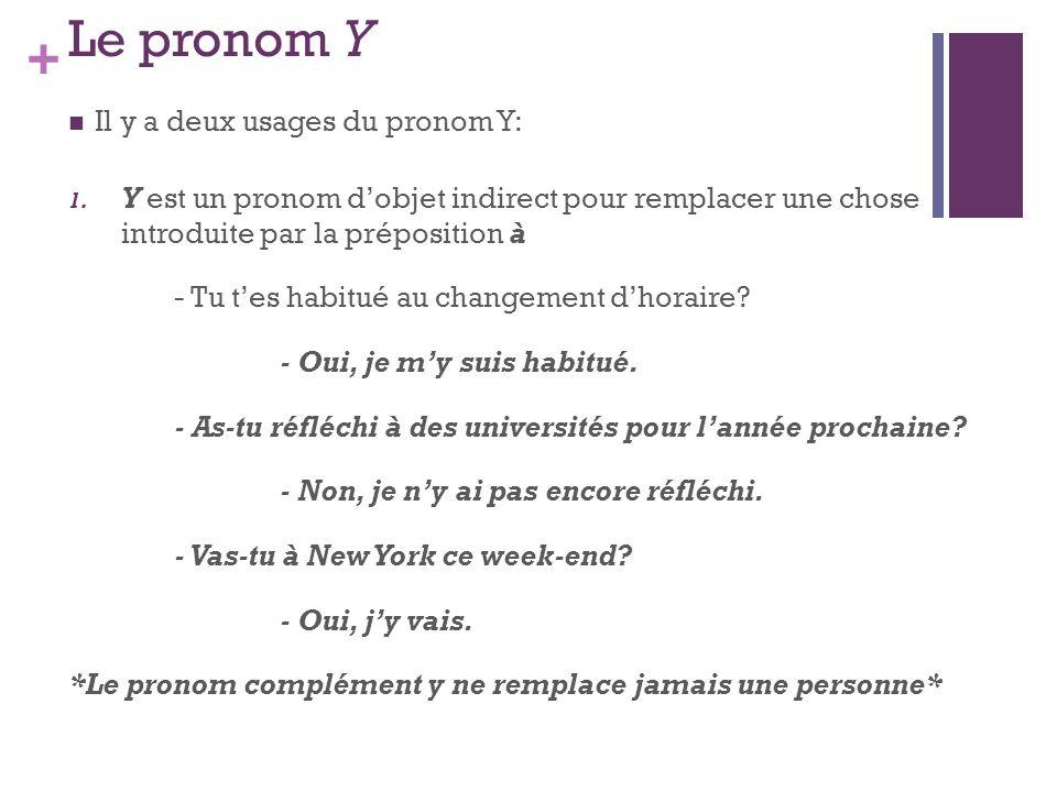 Le pronom Y Il y a deux usages du pronom Y: