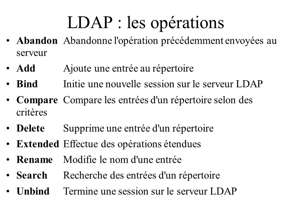 LDAP : les opérations Abandon Abandonne l opération précédemment envoyées au serveur. Add Ajoute une entrée au répertoire.