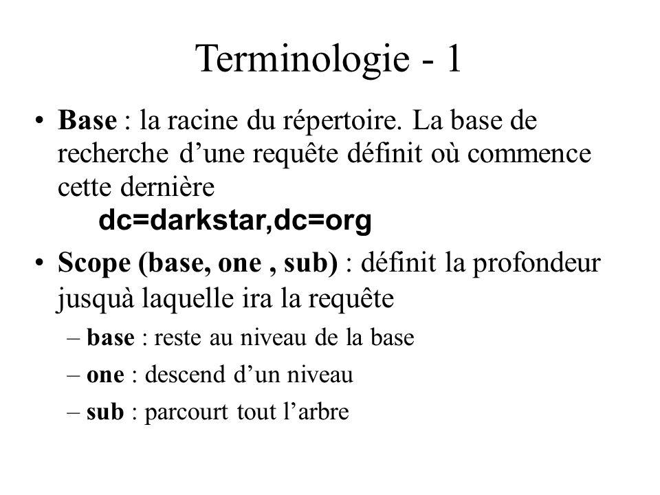 Terminologie - 1 Base : la racine du répertoire. La base de recherche d'une requête définit où commence cette dernière dc=darkstar,dc=org.