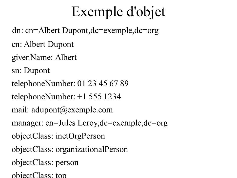 Exemple d objet dn: cn=Albert Dupont,dc=exemple,dc=org