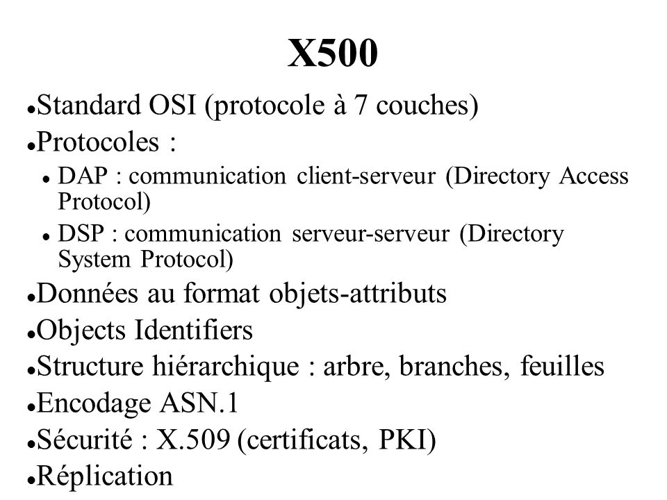 X500 Standard OSI (protocole à 7 couches) Protocoles :