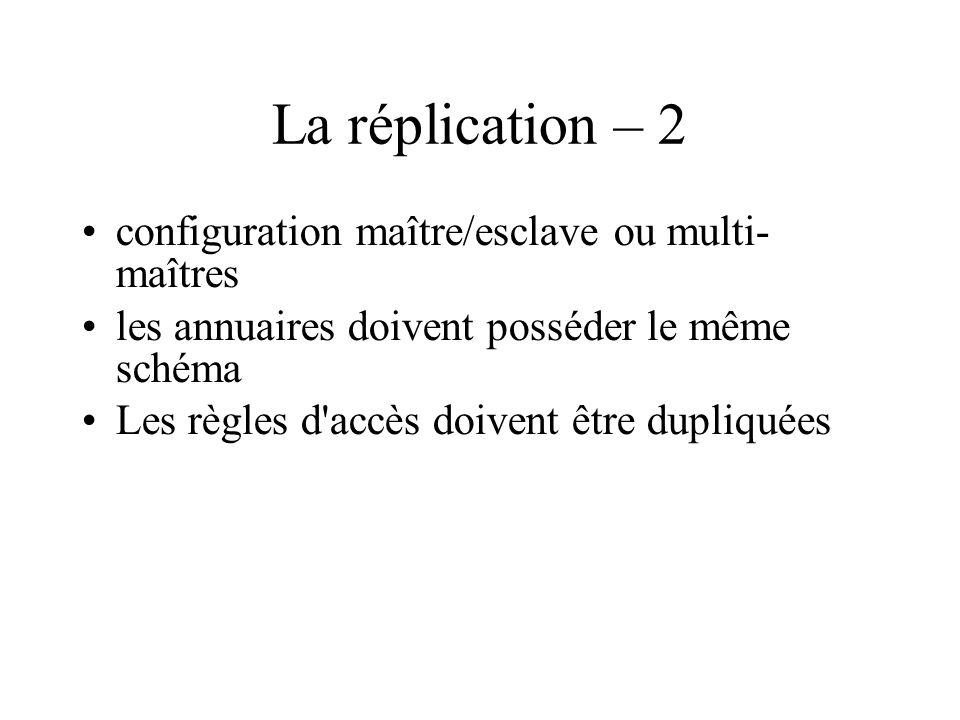 La réplication – 2 configuration maître/esclave ou multi- maîtres