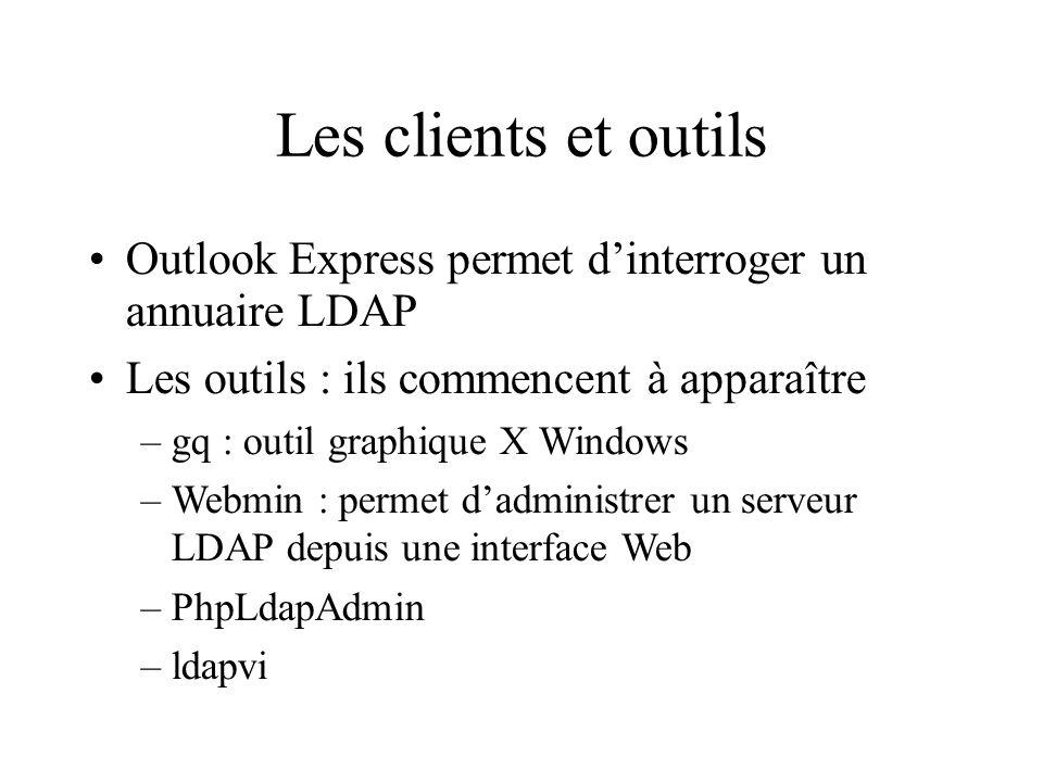 Les clients et outils Outlook Express permet d'interroger un annuaire LDAP. Les outils : ils commencent à apparaître.