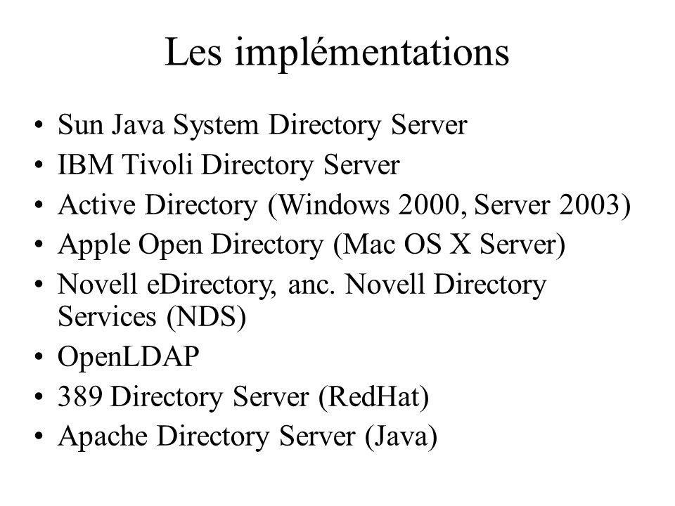 Les implémentations Sun Java System Directory Server