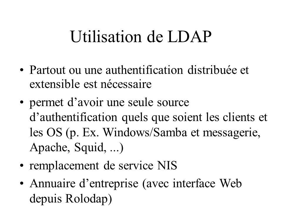 Utilisation de LDAP Partout ou une authentification distribuée et extensible est nécessaire.