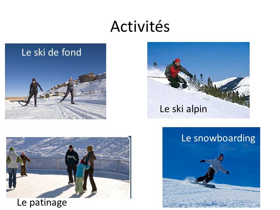 Activités Le ski de fond Le ski alpin Le snowboarding Le patinage