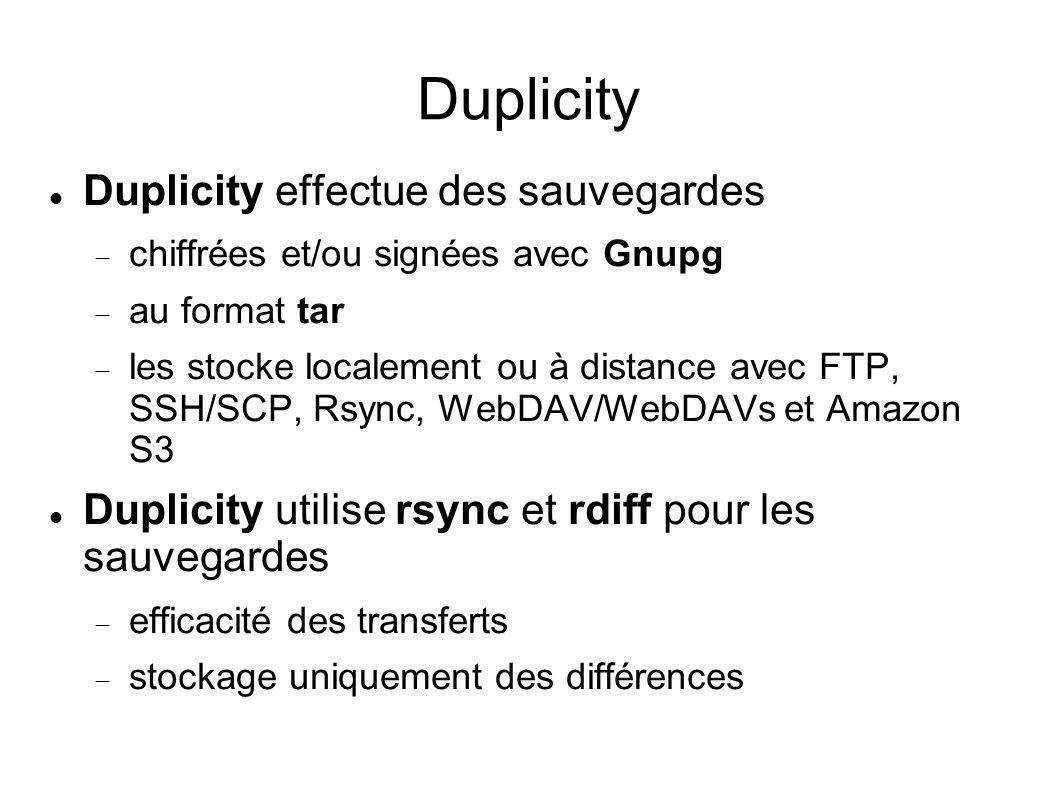 Duplicity Duplicity effectue des sauvegardes